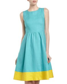 Fit-and-Flare Contrast-Border Dress, Fiji/Sunshine by Studio 148 by Lafayette 148 New York at Last Call by Neiman Marcus.