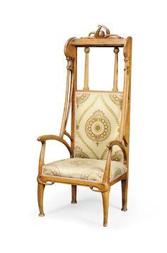 A Léon  Benouville FRUITWOOD ARMCHAIR -  CIRCA 1900 // fauteuil en bois fruitier par Léon Benouville. art nouveau