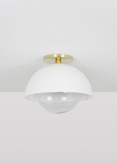 Gladys Dome modern semi-flush mount dome with glass globe & Vanity Lighting, Home Lighting, Wall Lights, Ceiling Lights, Glass Globe, Interior Design Studio, Hand Blown Glass, Light Fixtures, Light Bulb