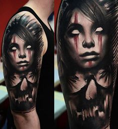 Realism Face Tattoo by Timur Lysenko& Evil Tattoos, Creepy Tattoos, Leg Tattoos, Black Tattoos, Body Art Tattoos, Sleeve Tattoos, Dark Art Tattoo, Color Tattoo, Tattoo Art