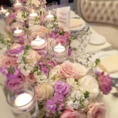 Lavender, blush and candle light. #tablescape | Wedding Decor Toronto Rachel A. Clingen Wedding & Event Design #rachelaclingen