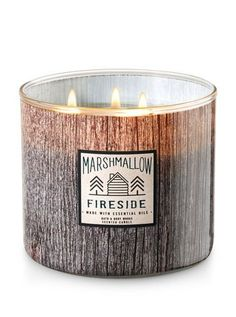 Cozy winter candles-White Barn Marshmallow Fireside Candle - Bath And Body Works Bath Candles, 3 Wick Candles, White Candles, Scented Candles, Candle Jars, Christmas Candle Holders, Christmas Candles, Primitive Christmas, Country Christmas