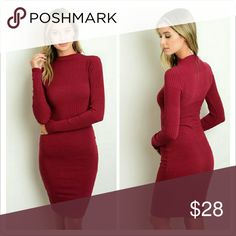 "Burgundy Ribbed Dress Mock neckline bodycon dress with long sleeves.   65% RAYON 30% Polyester 5% Spandex   Size Small Measurements  Length: 38""  Bust: 32""  Waist: 28""  Price firm! No offers please!   No trades.  No holds. Dresses Long Sleeve"