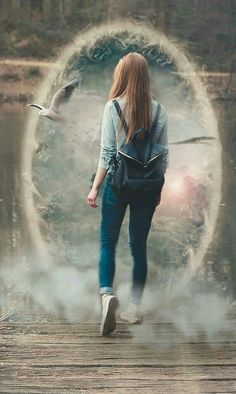 """Dani is walking in the woods and a portal opens up to an ocean scene. """"What the Hell! Dream Photography, Fantasy Photography, Girl Photography Poses, Photography For Beginners, Creative Photography, Eiffel Tower Photography, Surrealism Photography, Photoshop For Photographers, Photoshop Photography"""