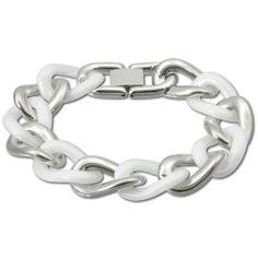 Amello Edelstahl Armband Keramikschmuck weiß – Panzerarmband Big für Damen Edelstahlschmuck Stainless Steel ESAX21W0 | Your #1 Source for Je...