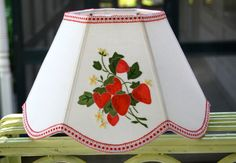 Strawberry Lampshade Uno Lamp Shade, red and green bridge lampshade 7x12x8 scallop hex made from vintage applique linen by lampshadelady on Etsy