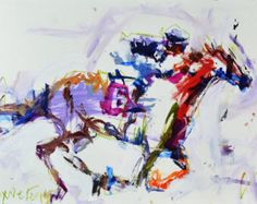 Modern Abstract Horse Racing Painting, Animal Painting, Mixed Media Painting, Abstract Artwork, Original Painting
