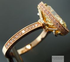 yellow diamond with pink gold diamond ring - side view
