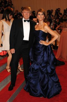 Red-Carpet Looks From the Met Gala (Can't stand The Donald but his wife's gown is pretty luscious. Donald And Melania Trump, First Lady Melania Trump, Donald Trump, Trump Melania, Ivanka Trump, Melania Trump Pictures, Milania Trump Style, Malania Trump, Trump Is My President