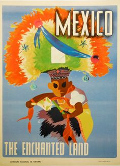 Vintage Travel Poster - Mexico -The Enchanted Land.