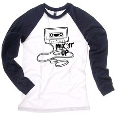 Mix It Up Retro Cassette Tape Raglan Long Sleeve T-shirt (8.130 HUF) ❤ liked on Polyvore featuring tops, t-shirts, long sleeve tees, retro tops, retro t shirts, white t shirt and raglan sleeve t shirts