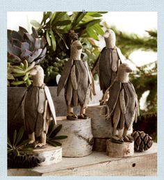 Driftwood Penguin Ornament. Handcarved penguins sport natural driftwood pieces and accents to form our plucky penguin ornaments. Created using reclaimed driftwood.