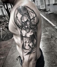 Ideas and tips for your first or next upper arm Tattoo leonidas fighter . - ideen arm Ideas and tips for your first or next upper arm Tattoo leonidas fighter … Warrior Tattoos, Wolf Tattoos, Black Tattoos, Body Art Tattoos, Warrior Tattoo Sleeve, Fighter Tattoos, Tatoos, Sketch Style Tattoos, Tattoo Style
