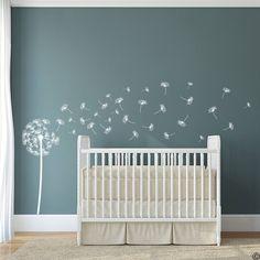 Vinyl wall decals make it so easy to decorate a nursery! I love this dandelion pattern. #nurserydecor #genderneutralnursery #diy #wallart #ad