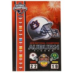"Auburn Tigers 2010 BCS National Champions 24"" x 36"" Poster () by Football Fanatics. $14.95. Officially licensed collegiate product. Ready to hang. Celebrate the Tigers' perfect end to a perfect season with their victory over the Ducks to clinch the 2010 BCS National Title when you hang this 24"" x 36"" poster in your home or office. It features the team helmet, name, logo and the game's final scoreline-all displayed over an image of Auburn's campus!High-quality t..."