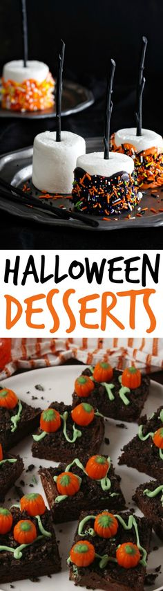 Aside from Halloween decors and crafts, one thing I'm looking forward to is making some delicious Halloween desserts. Baking some yummy (and spooky) Halloween desserts are a perfect treat to get into the holiday spirit!  You're going to love these recipes! #halloween #happyhalloween #trickortreat #halloweenparty #halloweenfun #halloweenDIY #halloweentreats #cookies #desserts #recipes