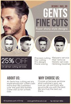 Gents Hair Cutting Flyer Design Advertising