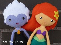 PDF sewing pattern to make a felt dolls inspired in the little Mermaid and Ursula