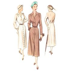 1940s Dress Pattern McCall 7888 Below Knee Shirtwaist by Redcurlzs