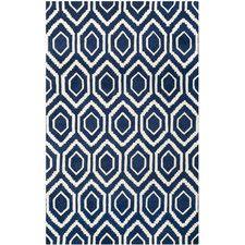 Handgefertigter Teppich Evans in Dunkelblau
