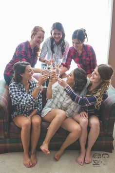 Bridesmaids in Flannel//Champagne Toast//Toronto Wedding Photographers-Jono & Laynie Co.