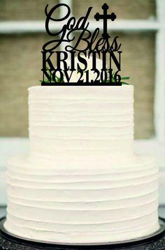 God Bless Cake Topper Baptism Gift Monogram cake topper
