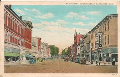 Main Street Looking East Lancaster Oh Postcard