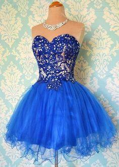 Royal Blue Organza Ball Gown Cute Lace-up Beading Prom Dress. Večerní ŠatyKrajkové  ... 129588e675