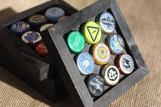 Recycled Assorted Bottle Cap Coasters Set of 4 by RufticDesigns Beer Bottle Crafts, Beer Cap Crafts, Bottle Cap Projects, Bottle Cap Art, Bottle Top, Diy Bottle, Beer Cap Art, Beer Caps, Man Cave Diy