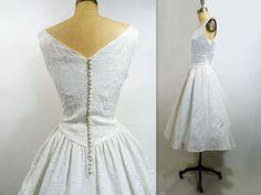 Vintage Wedding Dress 1960s Brocade White Bridal Tea Length Size S to M. $378.00, via Etsy.