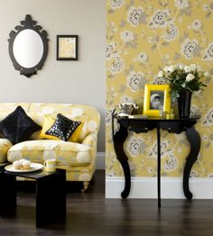 Sunshine Yellow, Black and White in the Living Room