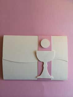 elegant hand die cut invitation for first holy communion or confirmation. we customize for a girl or boy, flourish accents/colors of your choosing. invitation is featured a simple, elegant cross, and with pink band, which can be changed to any color of choice.