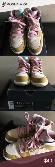 Jordan 1 Mid White/Pink/Wheat Hares with Box included Jordan Shoes Sneakers