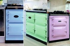 Aga  Play around with the classic Aga style with these new and adorable pastel colours! From icey blue, mint green and dusty pink it's the perfect way to incorporate a traditional Aga into a contemporary or urban setting.