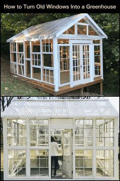 Did you know that you can use salvaged timber-framed windows to build a greenhouse? plans old windows How to Turn Old Windows Into a Greenhouse Diy Greenhouse Plans, Backyard Greenhouse, Old Window Greenhouse, Greenhouse Wedding, Pallet Greenhouse, Homemade Greenhouse, Cheap Greenhouse, Diy Small Greenhouse, Portable Greenhouse