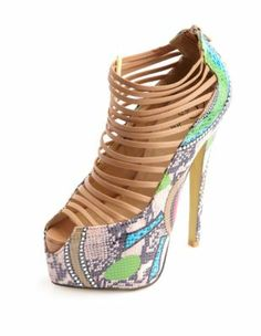 strappy printed snakeskin pump.I love these. I need more heels like these!