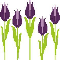 Pretty slim and tall purple tulips. Modern cross stitch pattern. Contemporary design.
