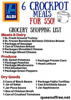 Crockpot ALDI Grocery List - Queen of Free - Crockpot Recipes Family Meal Planning, Budget Meal Planning, Cooking On A Budget, Freezer Cooking, Crock Pot Cooking, Budget Meals, Freezer Meals, Budget Recipes, Bulk Cooking