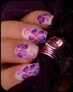 Yukata - nail art designs / multicolor purple and pink floral nails Nail Art Designs 2016, New Nail Art Design, Nail Polish Designs, Beautiful Nail Art, Gorgeous Nails, Cute Nails, Pretty Nails, Hair And Nails, My Nails