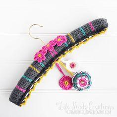 crochet covered hanger and sachet, #yalyearoftheflower2015