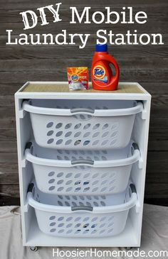 DIY Mobile Laundry Station: Learn how to build an organizing station to hold your laundry baskets and supplies. Tutorial on HoosierHomemade.com