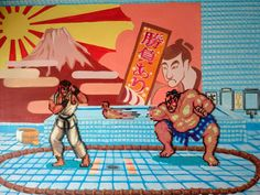 Street Fighter 2 E Honda Stage. Mixed Media!! Mini Beads on Canvas!! 24 X 20 !! Retro!!! SNES!! by PixelBeadPictures on Etsy