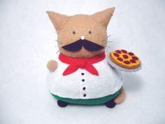 Italian cat pincushion, Cute Italian guy, Felt cat, Italian with pizza pie, Cat gifts, Italian decoration, Italian gifts, Mustache cat by FatCatCrafts