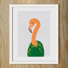 Poster / A3 / Flamingo im Pullover