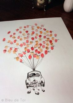 """Guest sign in with thumb prints. Maybe the thumb prints could be the balloons on the """"Up"""" house. Wedding Guest Book, Our Wedding, Dream Wedding, Wedding Reception, Wedding Car, Wedding Updo, Class Auction Projects, Auction Ideas, Art Auction"""