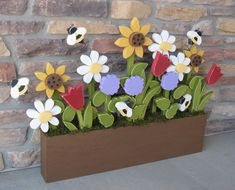 FLOWER BOX With Daisies Sunflower Tulips Lilac and by lisabees