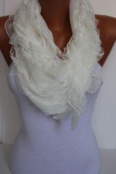 White Elegance Shawl/Scarf by DIDUCI on Etsy, $19.00