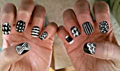 White and Black Patterned Nails