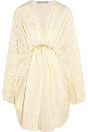 Elitta draped fil-coupé satin mini dress