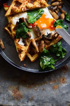 GLUTEN FREE CHEESY CHICKPEA WAFFLES WITH BUTTERED BASIL MUSHROOMS